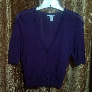H&M Purple Short Sleeve Cardiagan Size Small